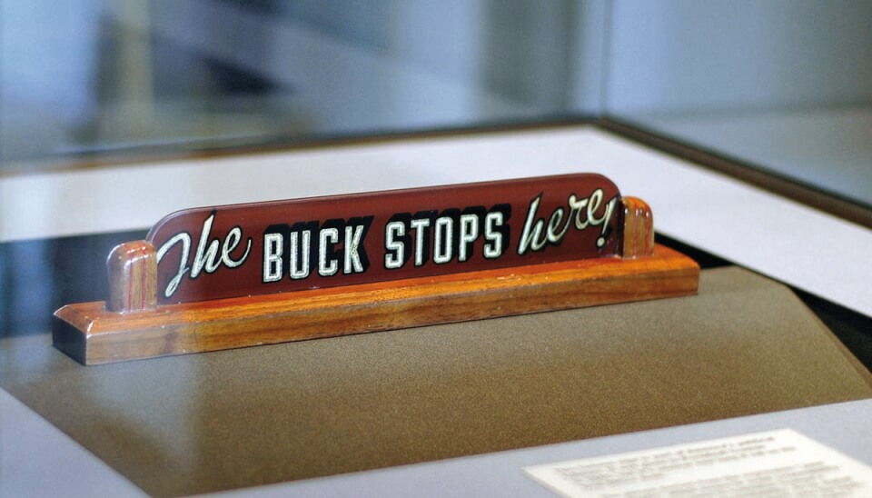 Sign: The buck stops here