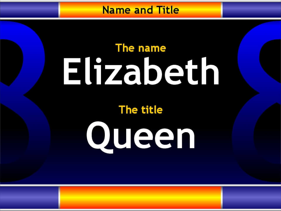 The name and title of Queen Elizabeth II