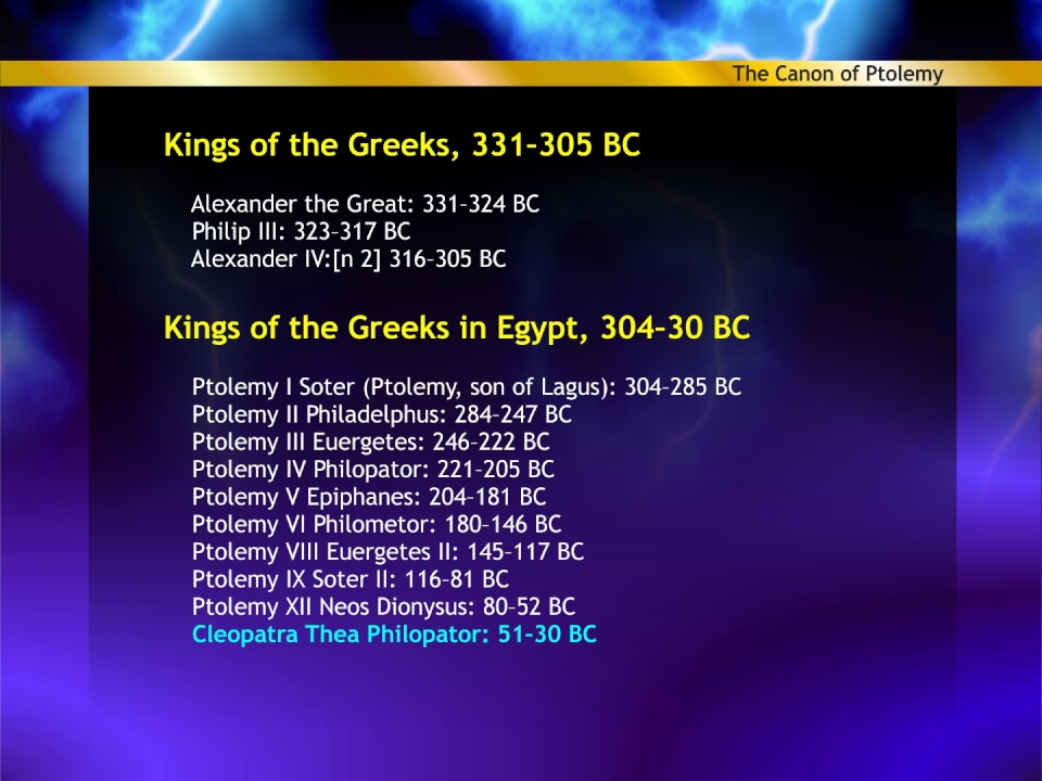 Greek kings in Ptolemys Canon
