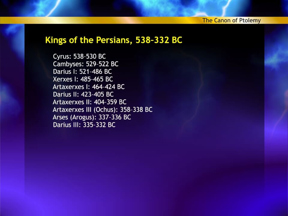 Persian kings in Ptolemys Canon