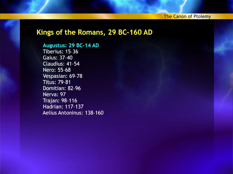 Roman emperors in Ptolemy's Canon
